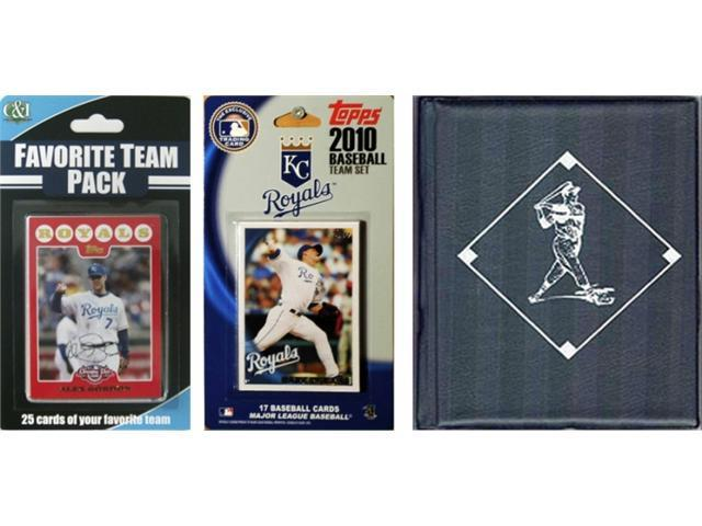 C & I Collectables 2010ROYALSTSC MLB Kansas City Royals Licensed 2010 Topps Team Set and Favorite Player Trading Cards Plus Storage Album