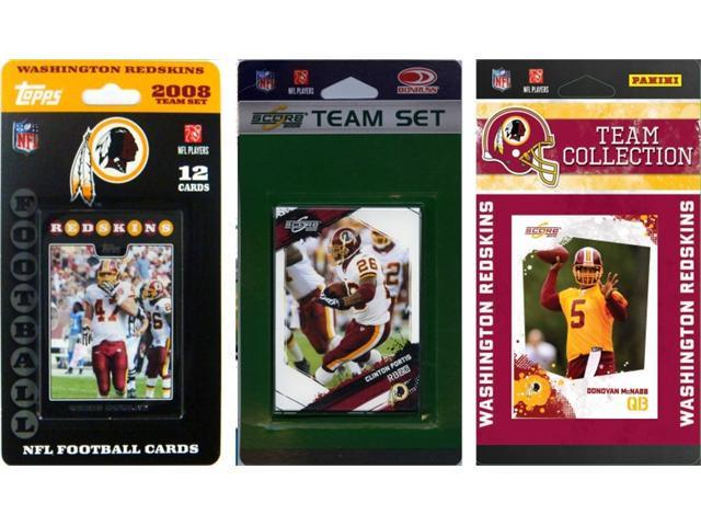 C & I Collectables REDSKINS3TS NFL Washington Redskins 3 Different Licensed Trading Card Team Sets