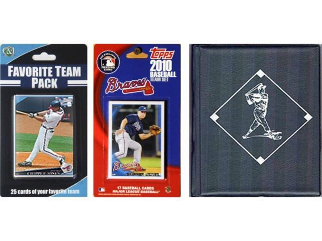 C & I Collectables 2010BRAVESTSC MLB Atlanta Braves Licensed 2010 Topps Team Set and Favorite Player Trading Cards Plus Storage Album