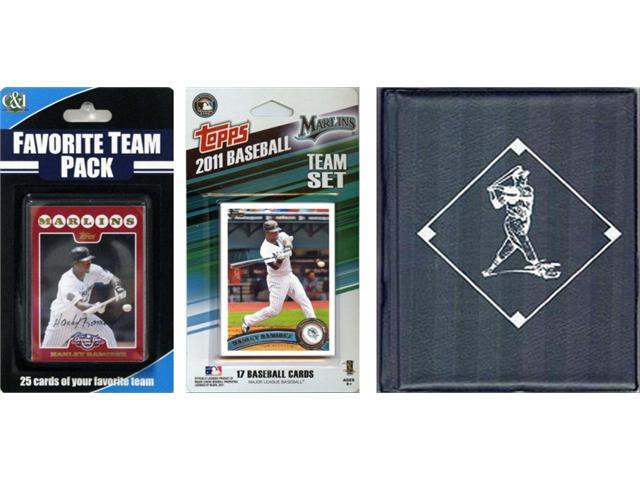 C & I Collectables 2011MARLINSTSC MLB Florida Marlins Licensed 2011 Topps Team Set and Favorite Player Trading Cards Plus Storage Album