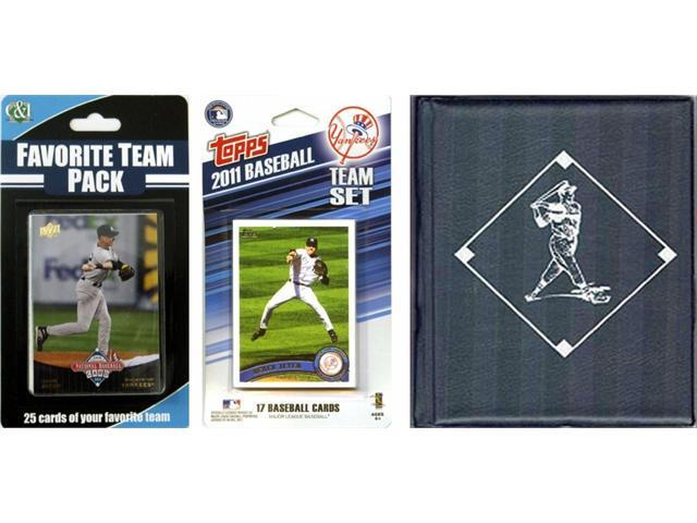C & I Collectables 2011YANKEESTSC MLB New York Yankees Licensed 2011 Topps Team Set and Favorite Player Trading Cards Plus Storage Album