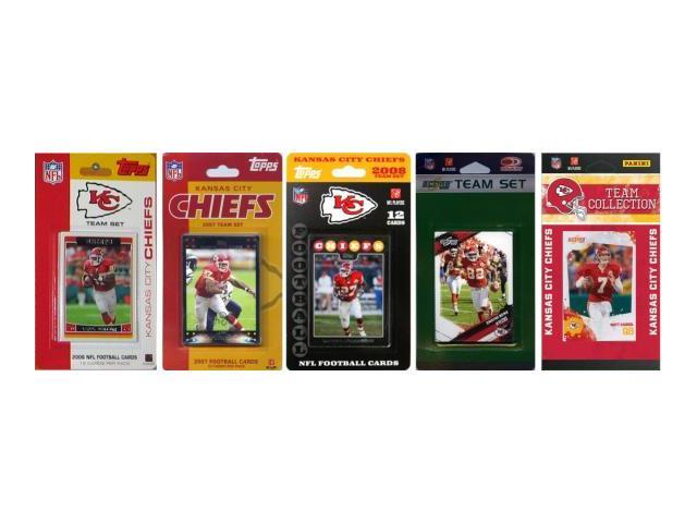 C & I Collectables CHIEFS5TS NFL Kansas City Chiefs 5 Different Licensed Trading Card Team Sets