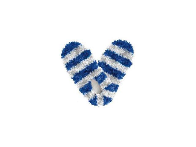 Red Carpet Studios 60083 Fuzzy Footies - Adult - Blue-White Striped