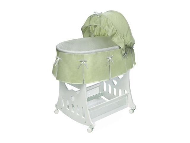 Badger Basket 2-in-1 Portable Bassinet 'n Cradle with - Sage Waffle Pleated