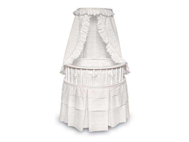 Badger Basket 00827 White Elegance Round Baby Bassinet With White Eyelet Bedding