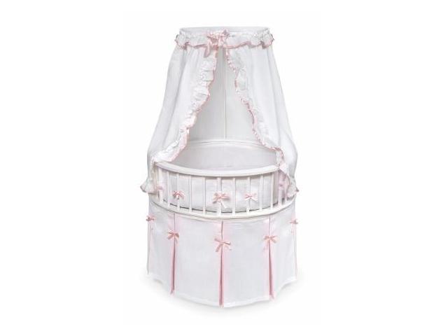 Badger Basket 00836 White Elegance Round Baby Bassinet With White Waffle Pink Bedding
