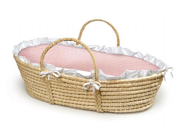 Badger Basket 00889 Natural Moses Basket With Pink Gingham Bedding