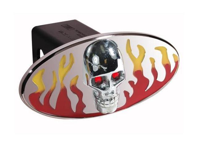 DefenderWorx 61072 Flames w - Chromed Skull - Red & Yellow - Oval - 2 Inch Billet Hitch Cover