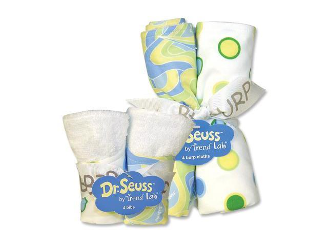 Trend Lab 30502 Bouquet Set - Dr. Seuss Blue Oh The Places You'Ll Go - Bib & Burp Cloth