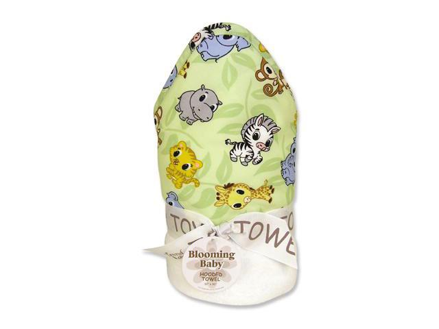 Trend Lab 101963 Blooming Bouquet Hooded Towel- White Terry With Chibi Zoo Animals Percale Hood-Trim- 32 Inch X 30 Inch