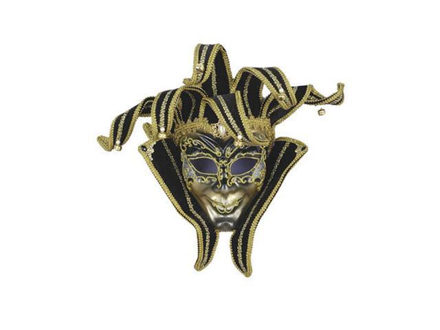Black and Gold Jester Volto Mask