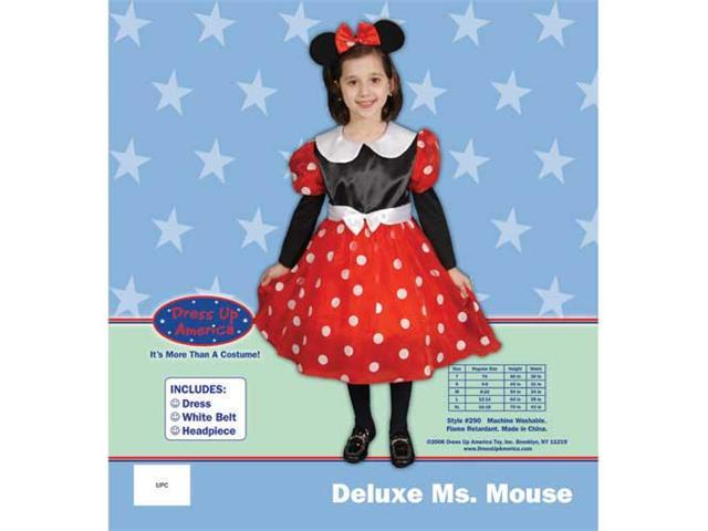 Dress Up America Deluxe Ms. Mouse Costume Set Small 4-6 290-S
