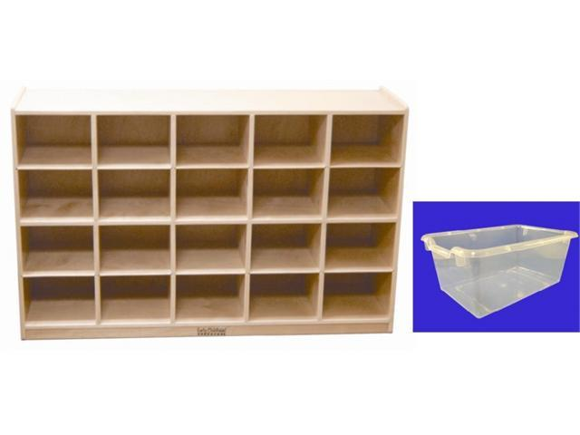 Early Childhood Resources ELR-0426-CL 20 Tray Cabinet With Clear Bins