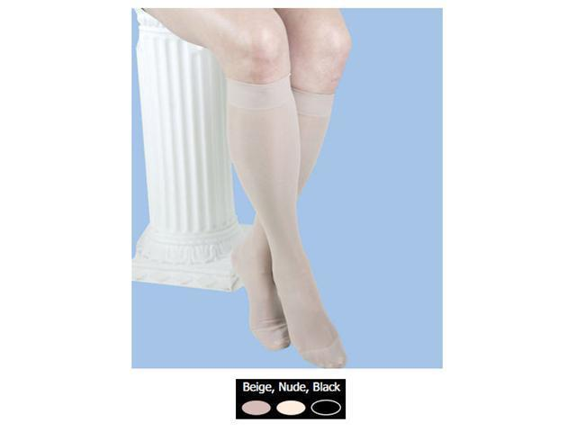 GABRIALLA Graduated Compression Knee Highs (Sheer  w/Band) - Firm Compression 20-30 mmHg - Large