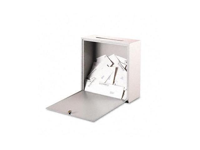 Buddy 562632 Wall-Mountable Interoffice Mail Collection Box  18w x 7d x 18h  Platinum