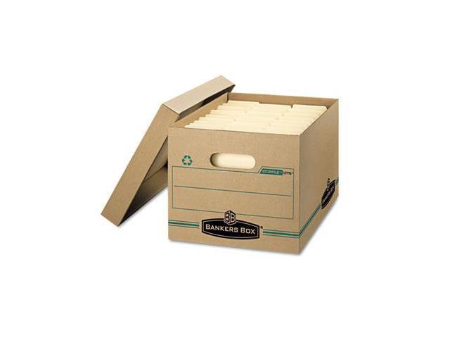 Fellowes 1277601 Stor/File Storage Box, Letter/Legal, Lift-off Lid, Kraft/Green, 12/Carton