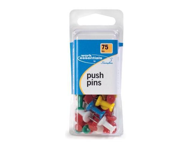 Acco Brands 75 Count Assorted Colored Push Pins  S7071751 - Pack of 4