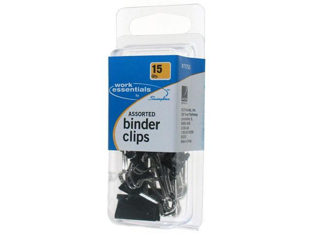 Acco Brands 15 Pack Assorted Binder Clips  S7071753 - Pack of 6