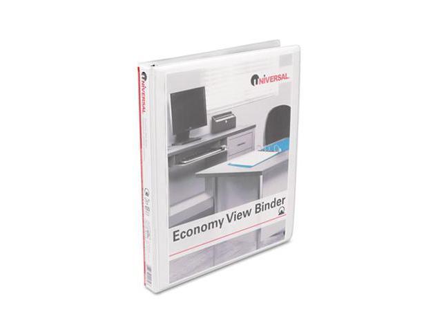 Universal 20952 Round Ring Economy Vinyl View Binder, 1/2'' Capacity, White