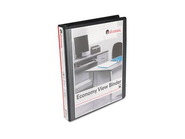 Universal 20961CT Round Ring Economy Vinyl View Binder, 1'' Capacity, Black, 12/Carton
