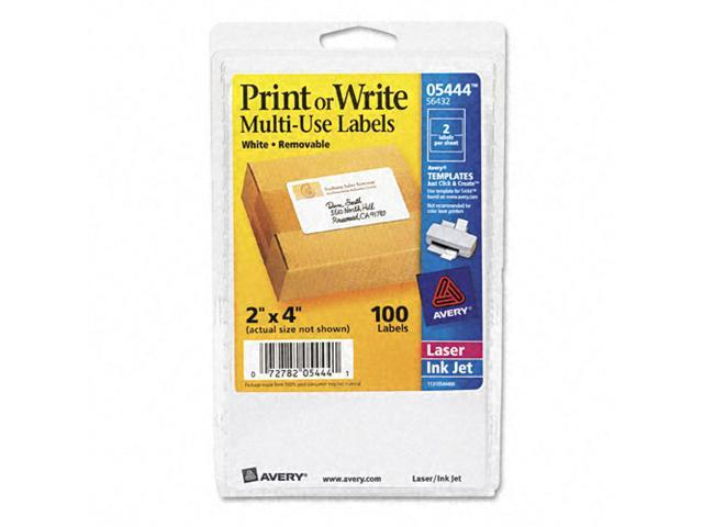 Avery AVE05444 Avery Print or Write Removable Multi-Use Labels, 2 x 4, White, 100/Pack, PK - AVE05444