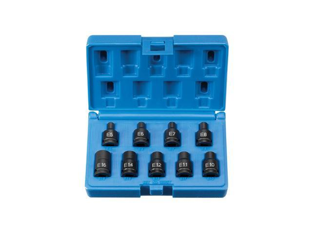 Grey Pneumatic Corp. GY1219ET .38 in. Drive 9 Piece External Star Impact Socket Set