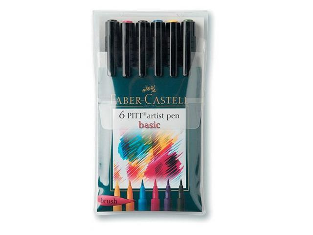 Alvin FC167103 Artist Brush Pen 6 Basic Color