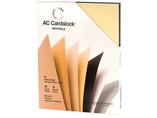 Alvin AC71266 8.5 in. x 11 in. American Crafts 60 Sheet Cardstock Pack - Neutral