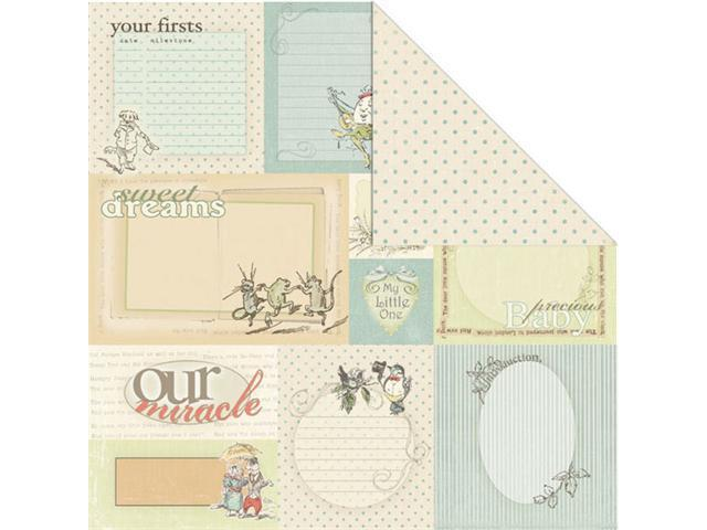 Alvin C26938 12 in. x 12 in. Journaling Blue Creative Imaginations Iod Lullaby Boy Collection Paper