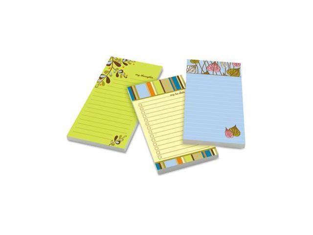 Post-it Notes Super Sticky 7366-OFF3 Assorted Printed Note Pads- 4 x 8- 75 Sheets/Pad- 3 Pads/Pack