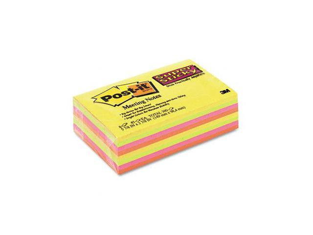 3M 6445SSP Super Sticky Large Format Notes  6x4  Daffodil/Neon  8 45-Sheet pads Pack