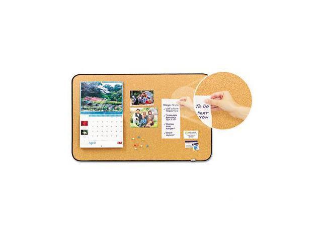 3M 558BB Sticky Cork Self-Stick Bulletin Board  36 x 22  Natural  Black Frame
