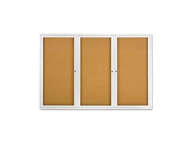 Quartet 2367 Enclosed Bulletin Board  Natural Cork/Fiberboard  72 x 48  Aluminum Frame