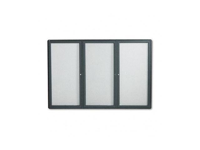 Quartet 2367L Enclosed Bulletin Board  Fabric Covered Cork  72 x 48  Gray  Aluminum Frame