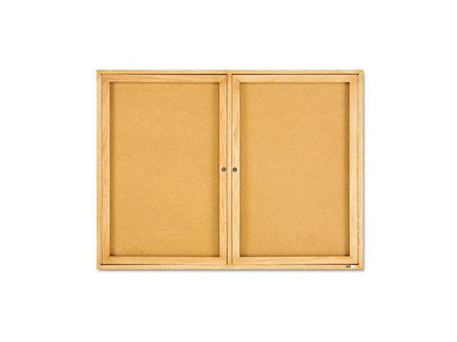 Enclosed Bulletin Board Natural Cork/Fiberboard 48 x 36 Oak Frame