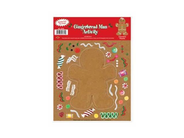 Beistle - 22701 - Gingerbread Man Sticker Activity- Pack of 12