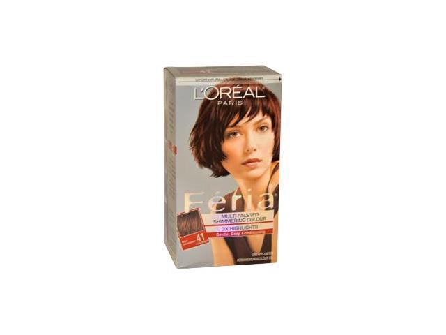 Feria Multi-Faceted Shimmering Color3X Highlights NO. 41 Rich Mahogany by LOreal for Women - 1 Application Hair Color