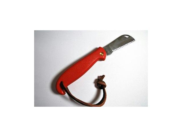Sheffield Sheepfoot Bld Action Knife Red with Leather