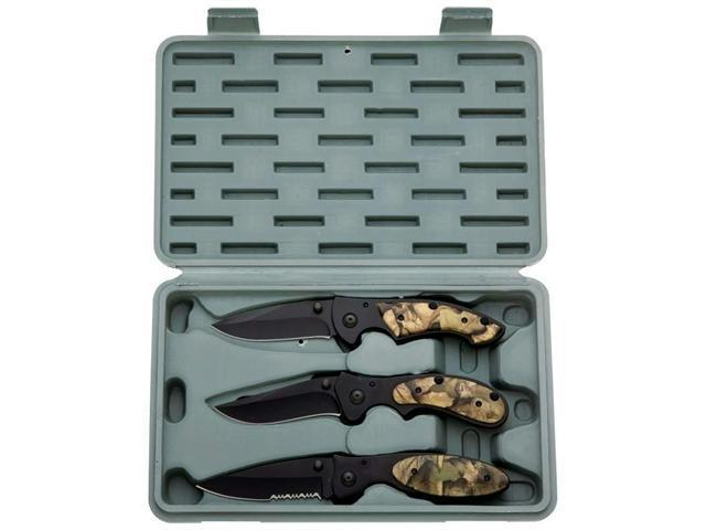 Maxam SKLWCAM3 3 Piece Liner Lock Knife Set