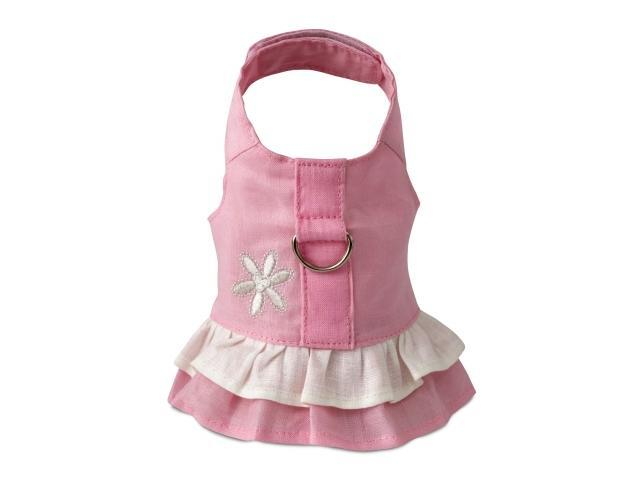Doggles HADHSM02 Small Hemp Dress Harness with Flower - Pink