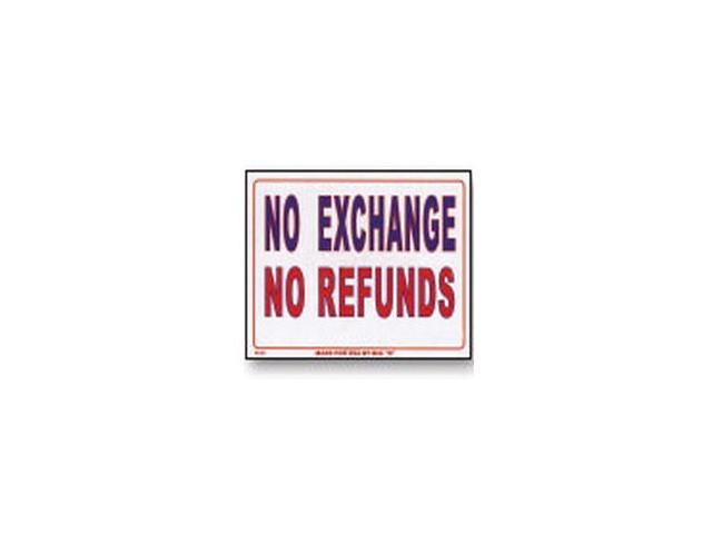 Bazic Products L-52-24 12 in. x 16 in. No Exchange No Refunds Sign - Box of 24