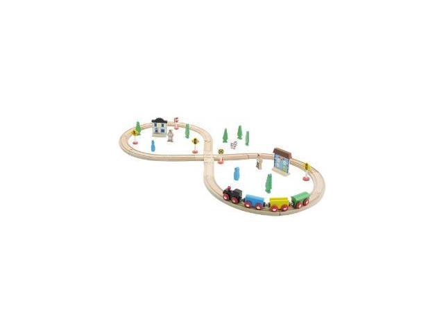 35 Pieces Wooden Train Set with Plastic Storage Tub