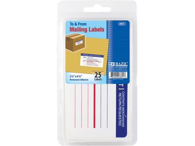 Bazic 3801-24 Mailing Label 25-Pack- Pack of 24