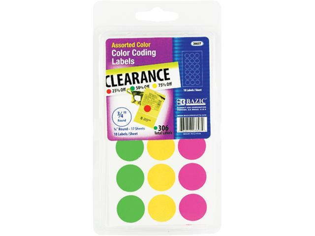Bazic 3807-24 Assorted Color .75 in. Round Labels 306-Pack- Pack of 24
