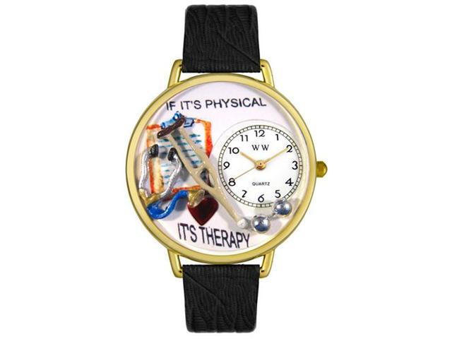 Whimsical Watches G0620022 Physical Therapist Black Skin Leather And Goldtone Watch