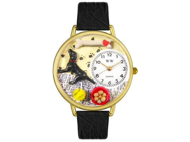 Whimsical Watches G0130011 Labrador Retriever Black Skin Leather And Goldtone Watch