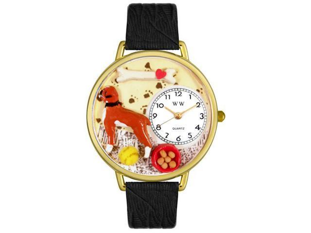 Whimsical Watches G0130014 Boxer Black Skin Leather And Goldtone Watch