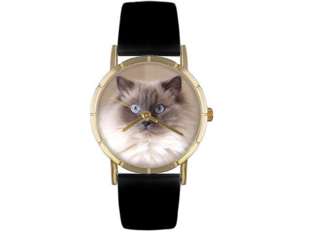 Ragdoll Cat Black Leather And Goldtone Photo Watch #P0120049