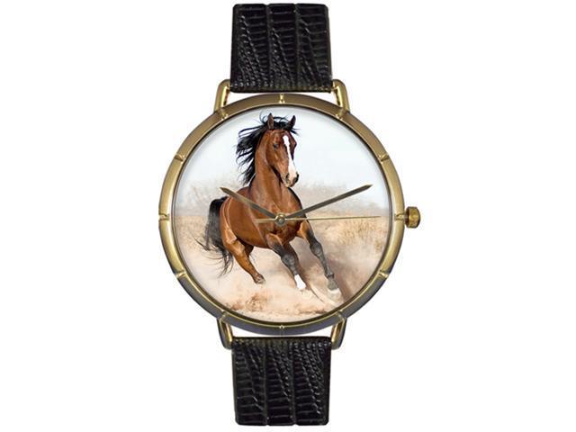 Arabian Horse Black Leather And Goldtone Photo Watch #N0110023