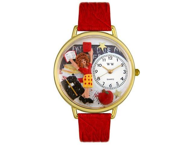 Whimsical Watches G0640002 Kindergarten Teacher Red Leather And Goldtone Watch